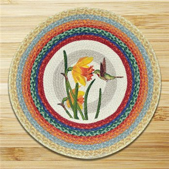 "Hummingbird Braided and Printed Round Rug 27""x27"""