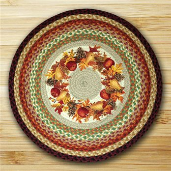 "Autumn Wreath Braided and Printed Round Rug 27""x27"""