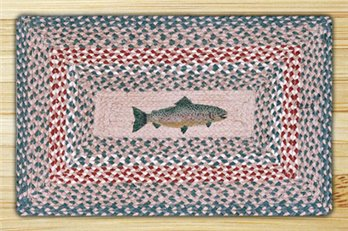 "Fish Braided and Printed Rectangle Rug 20""x30"""