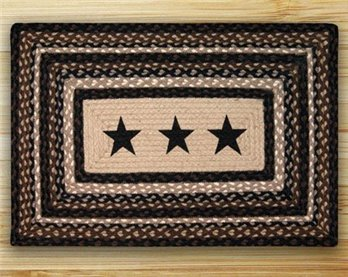"Black Stars Rectangle Braided Rug 20""x30"""