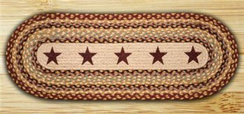 Burgundy Stars Oval Braided Rug 2'x6'