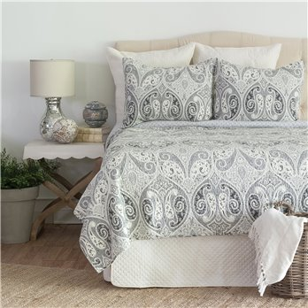 Nazima Gray Full Queen 3 Piece Quilt Set