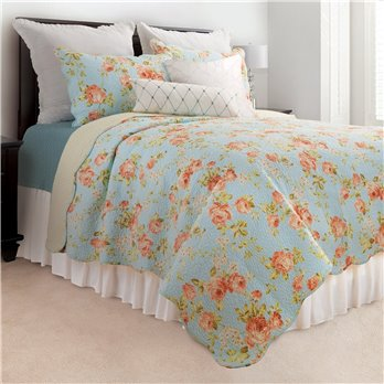 Whitney Blue Full Queen 3 Piece Quilt Set