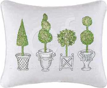 Boxwood Abbey Embroidered Topiary Pillow