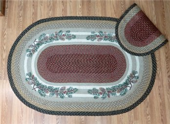 Pinecone / Red Berry Braided and Printed Oval Rug 4'x6'