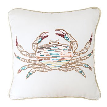 Coral Gables Embroidered Crab Pillow