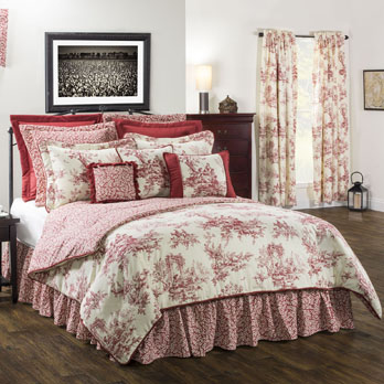 Bouvier Red Queen Comforter Set 18, Red Toile Queen Bedding