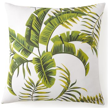Flower Of Paradise Euro Sham - White Background, Green Leaf