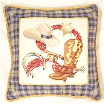 Western Theme 16 inch square Needlepoint Pillow