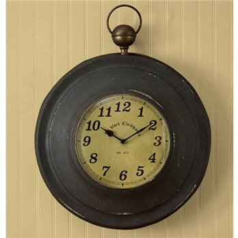 Large Pocket Watch Clock Black