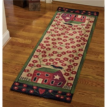 Red House Hooked Rug Runner 24x72