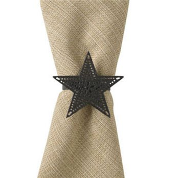 Black Star Napkin Ring - Pierced
