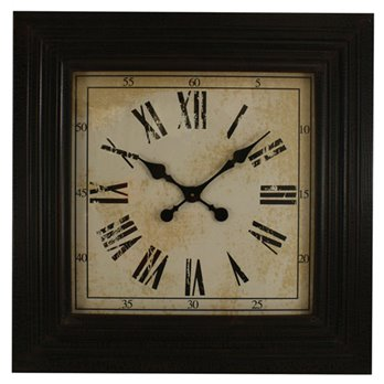 Black Square Wood Clock