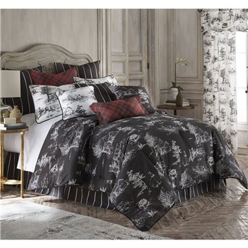 Toile Back In Black Comforter Set (Black Background) Twin Size