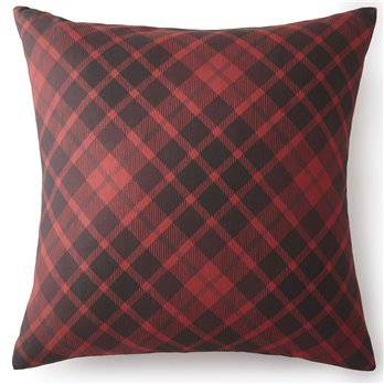 Toile Back In Black Euro Sham - Red Plaid