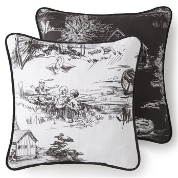 Toile Back In Black Square Pillow 18x18  - One side Linen background, reverses to the toile on the black background.