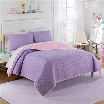 Waverly Kids Framework Purple Reversible Twin Size Quilt Set