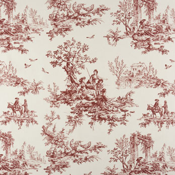 Bouvier Red Toile Print Shower Curtain