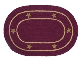 Burlap Star Wine Oval 4 ft X 6 ft Rug