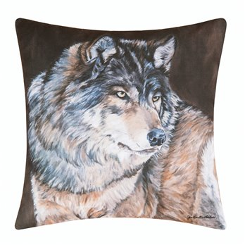 Caleb Wolf Indoor/Outdoor Pillow