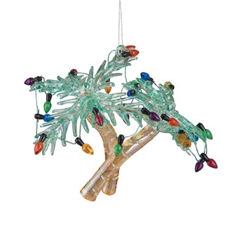 Double Palm Tree with Lights Glass Ornament