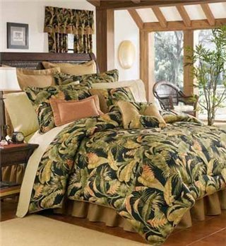 "La Selva Black Twin Thomasville Comforter Set (15"" bedskirt)"