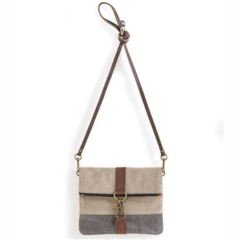 Mona B. Finley Fold-over Crossbody Bag - Stone