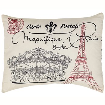 Elysee Stenciled Paris Pillow
