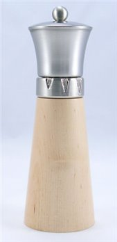 Signature Natural Wood/Brushed Metal Top Pepper Mill (9 in.)