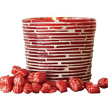 Red and White Glass Votive Holder