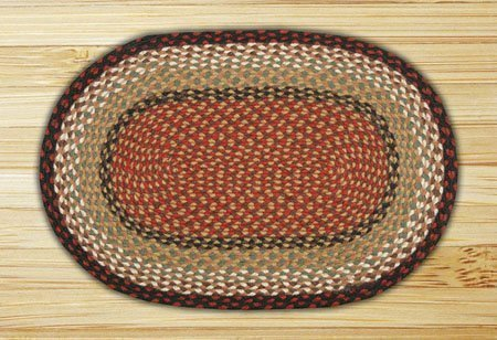 "Burgundy & Mustard Oval Braided Rug 20""x48"""