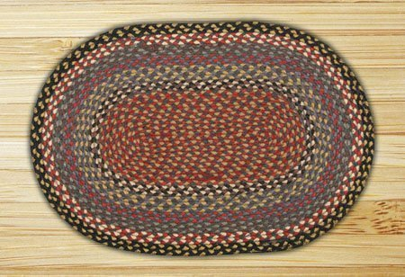 Burgundy, Blue & Gray Oval Braided Rug 2'x8'