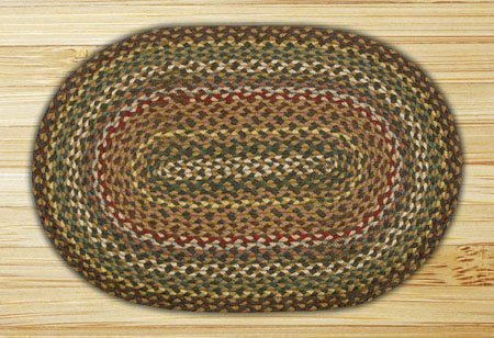 Fir & Ivory Oval Braided Rug 2'x8'