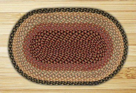 "Gray, Burgundy, Cream & Multi-color Oval Braided Rug 20""x30"""