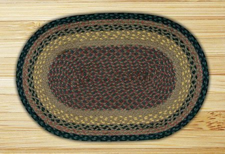 Brown, Black & Charcoal Oval Braided Rug 2'x8'