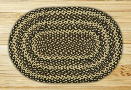 "Ebony, Ivory & Chocolate Oval Braided Rug 27""x45"""