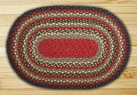 Burgundy, Olive & Charcoal Striped Oval Braided Rug 2'x8'