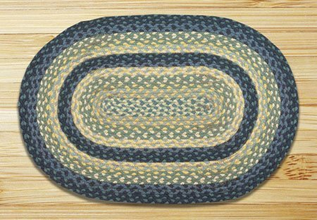 "Breezy Blue, Taupe & Ivory Oval Braided Rug 20""x30"""