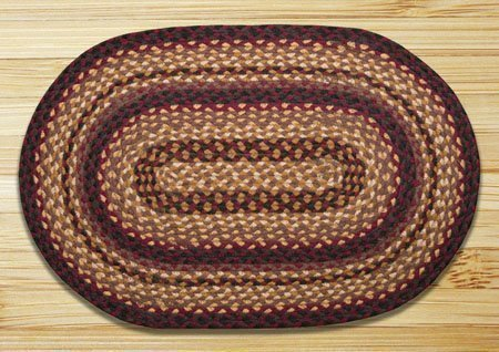 "Black Cherry, Chocolate & Cream Oval Braided Rug 20""x30"""