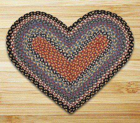 "Burgundy, Blue & Gray Heart Shaped Braided Rug 20""x30"""