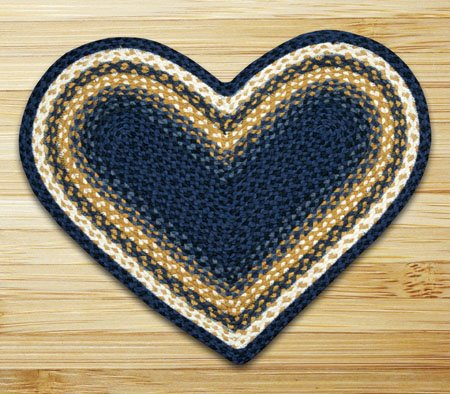 "Light Blue, Dark Blue & Mustard Heart Shaped Braided Rug 20""x30"""