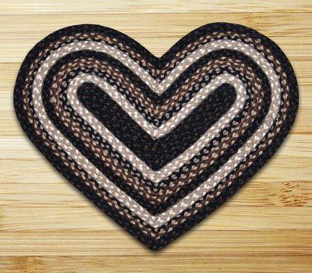 "Mocha & Frappuccino Heart Shaped Braided Rug 20""x30"""