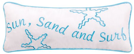 Sun, Sand and Surf Embroidered Pillow