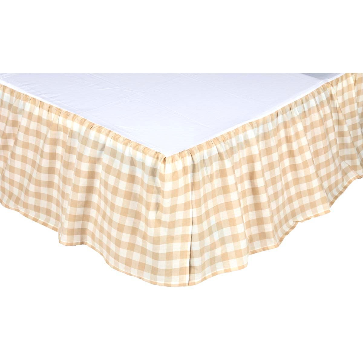 Annie Buffalo Tan Check King Bed Skirt 78x80x16