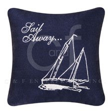 Knotty Buoy Embroidered Pillow