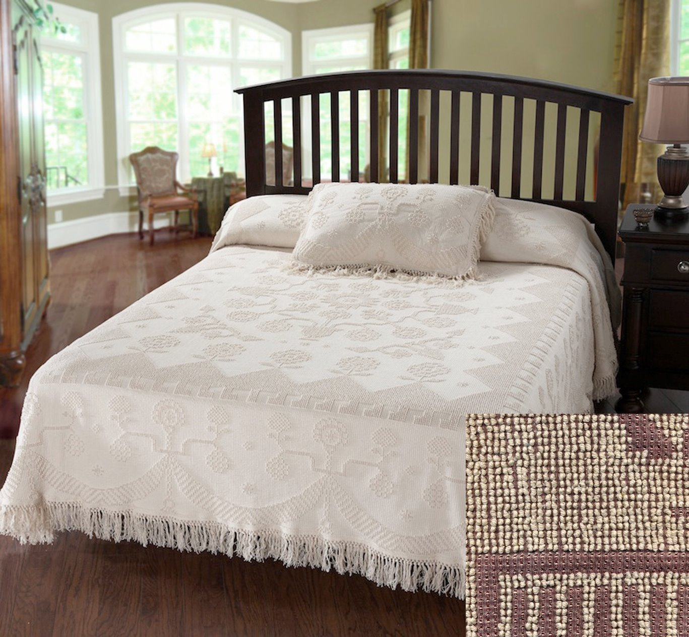 George Washington Bedspread Full Maroon