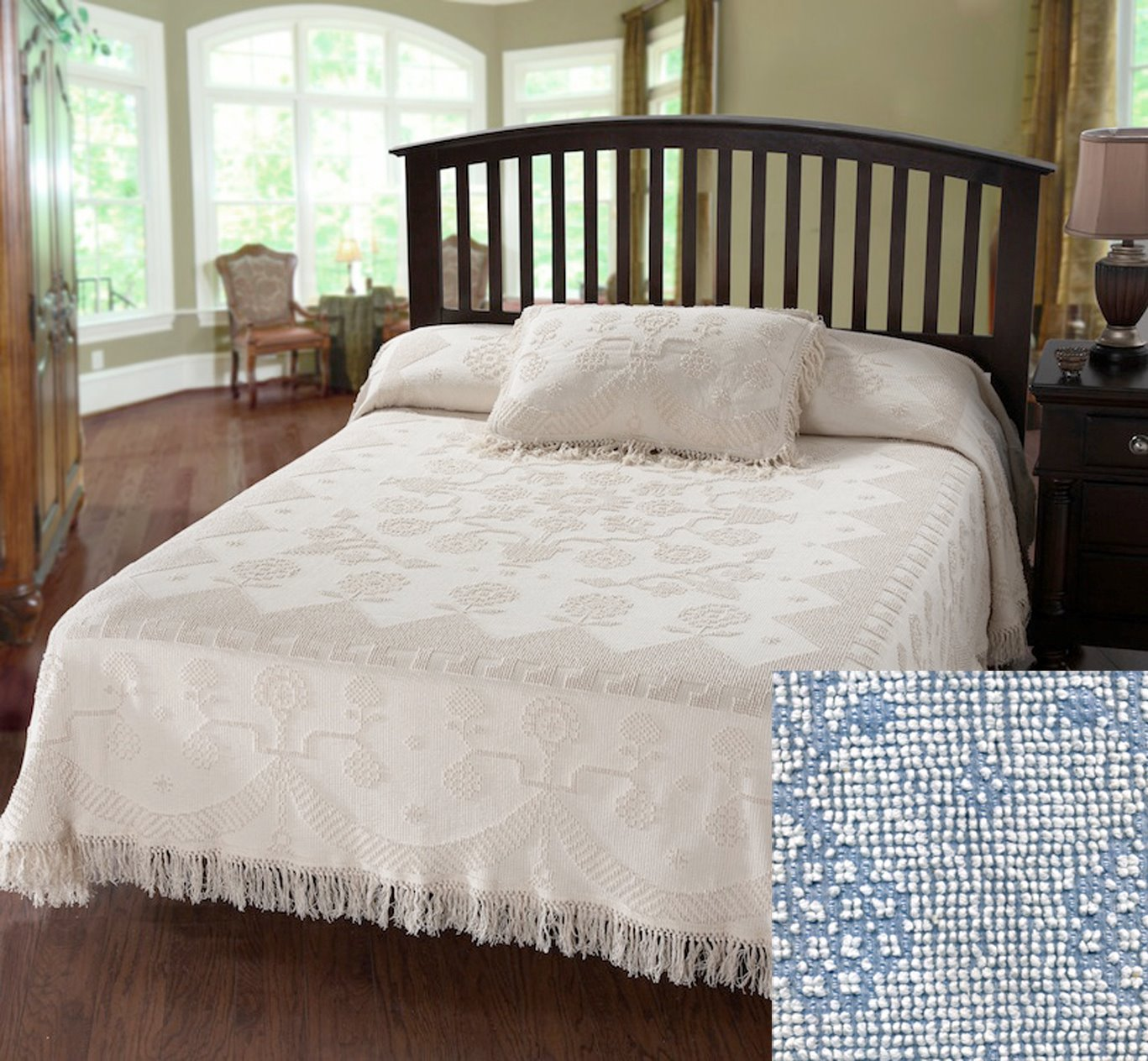 George Washington Bedspread Queen Blue