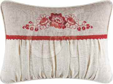 Jasleen Shirred Pillow with Red Flowers