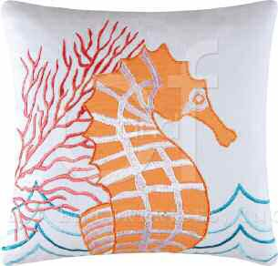 Tropic Escape Seahorse Pillow