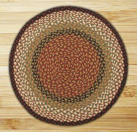 Burgundy & Mustard Round Braided Rug 7.75'x7.75'